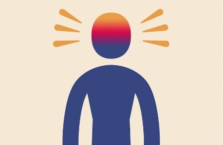 Person with their head displaying different colours and feelings