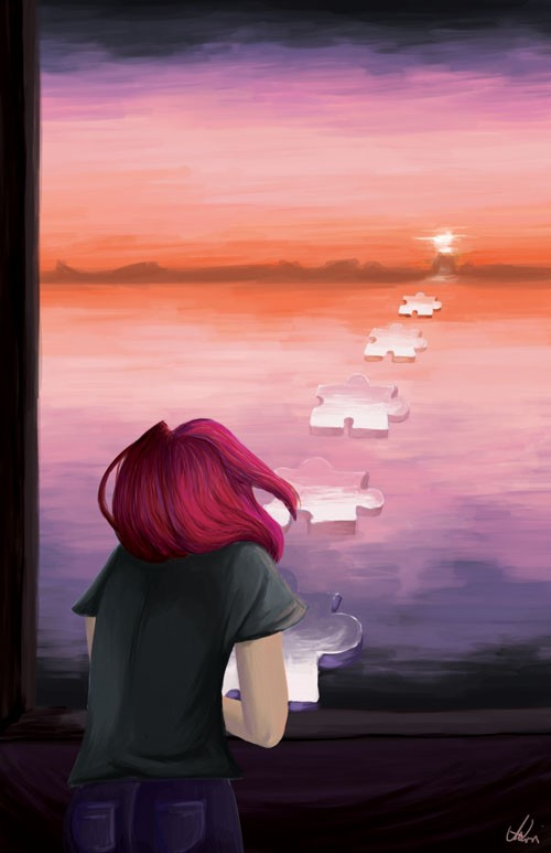 painting of a female looking at a sunset with puzzle pieces as stepping stones