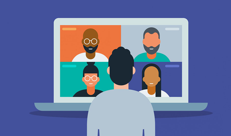 cartoon of a virtual meeting