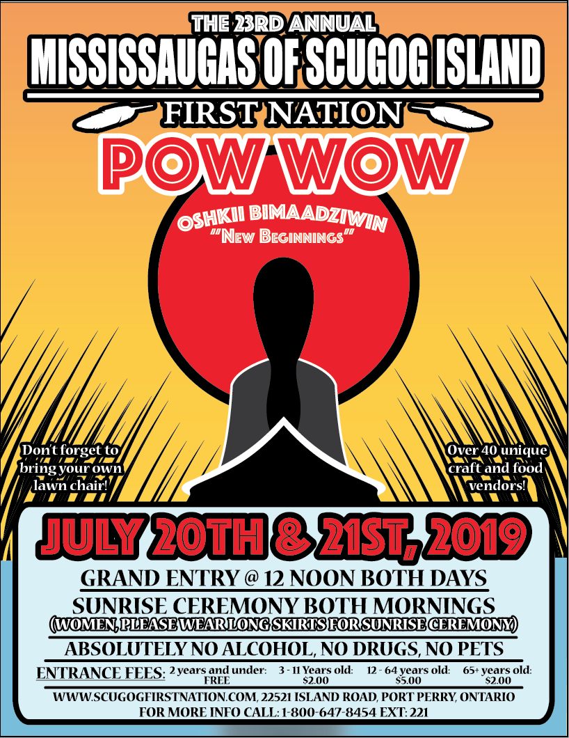 flyer promoting Mississauga of Scugog Island Pow Wow