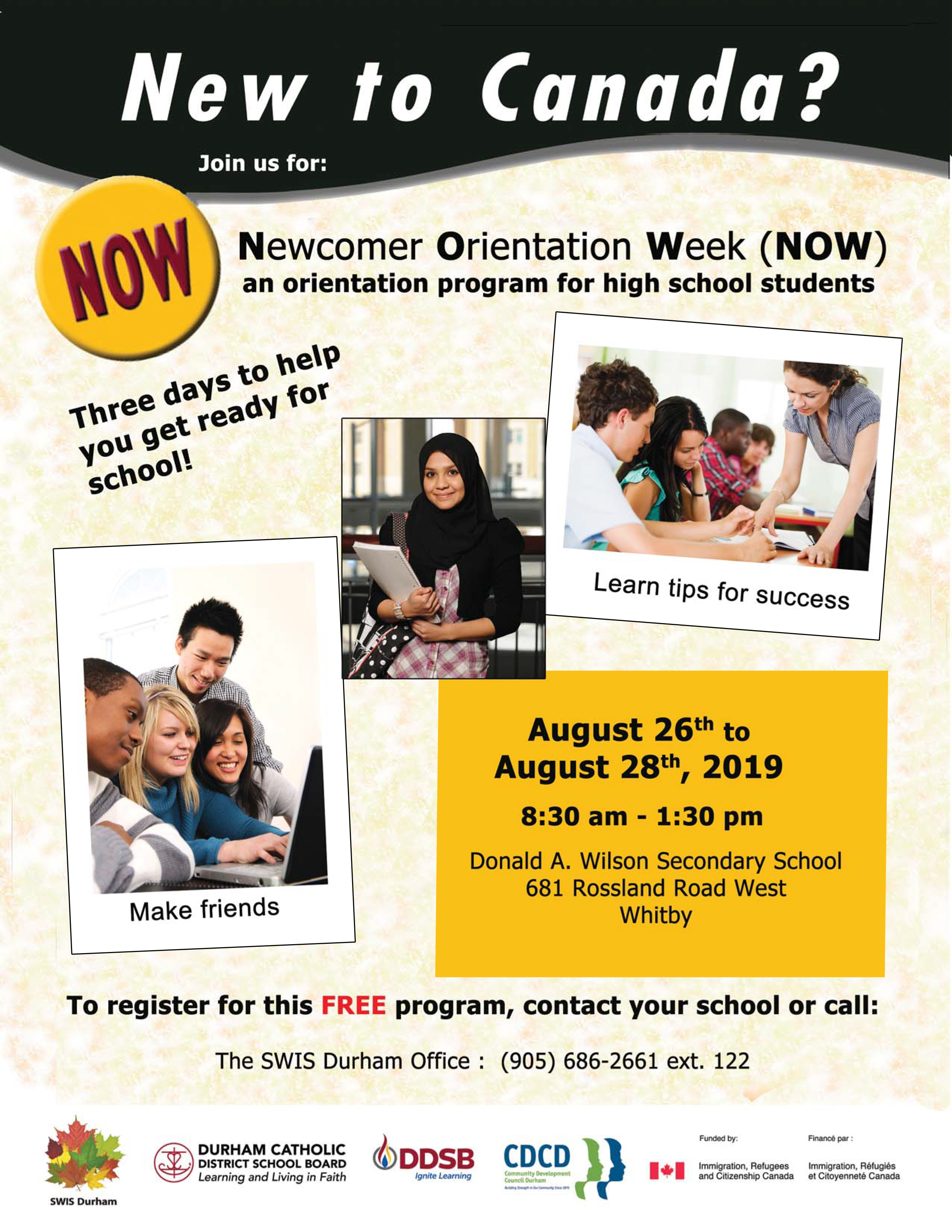 flyer promoting the Newcomers to Canada program