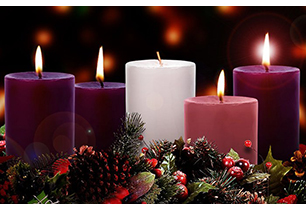 Advent Wreath with 3 purple candles lit, 1 pink candle lit, and a white candle unlit