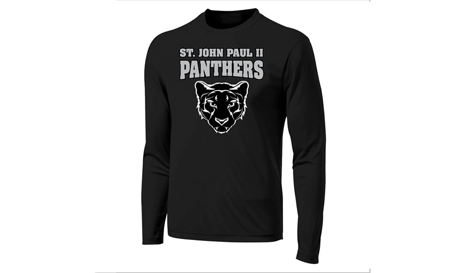 black shirt with school athletic logo on the front