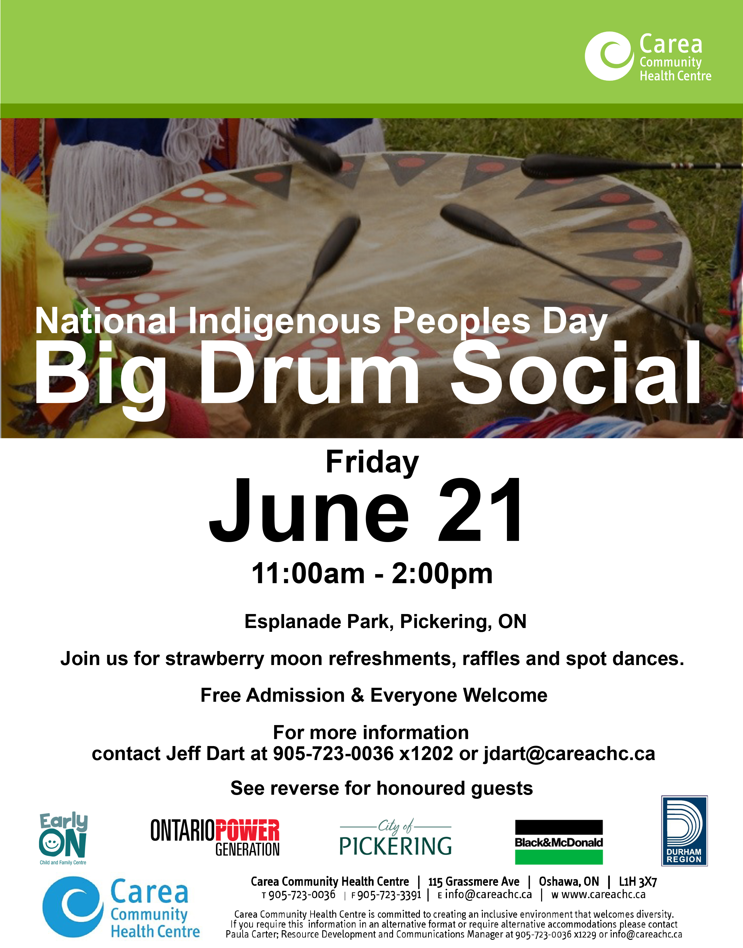 poster for Big Drum Social for Indigenous Peoples Day