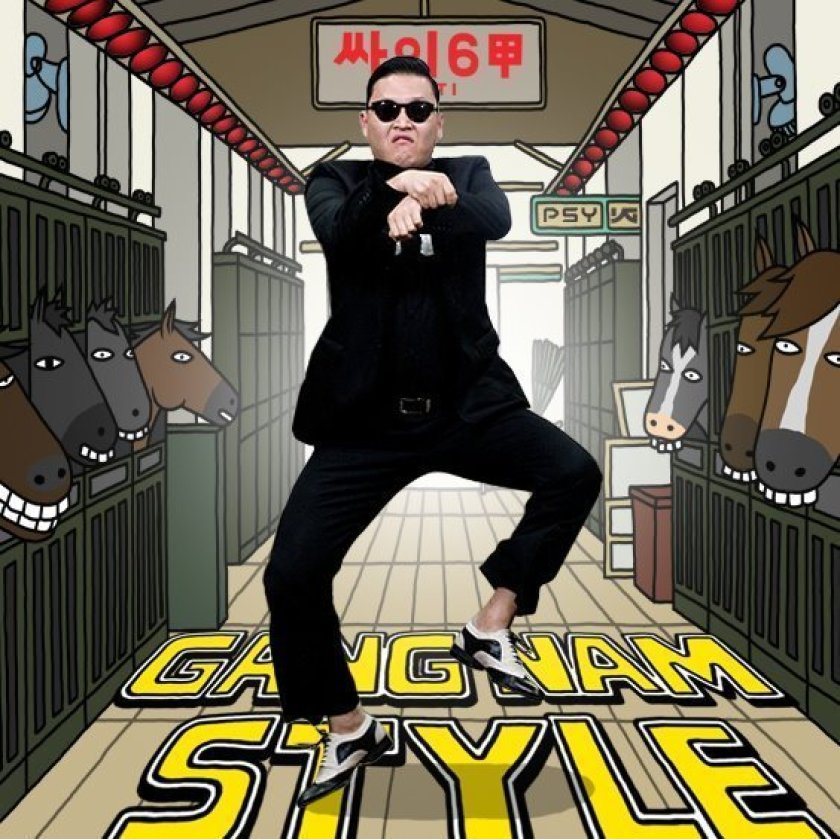 Male adult dancing the Gangnam Style dance