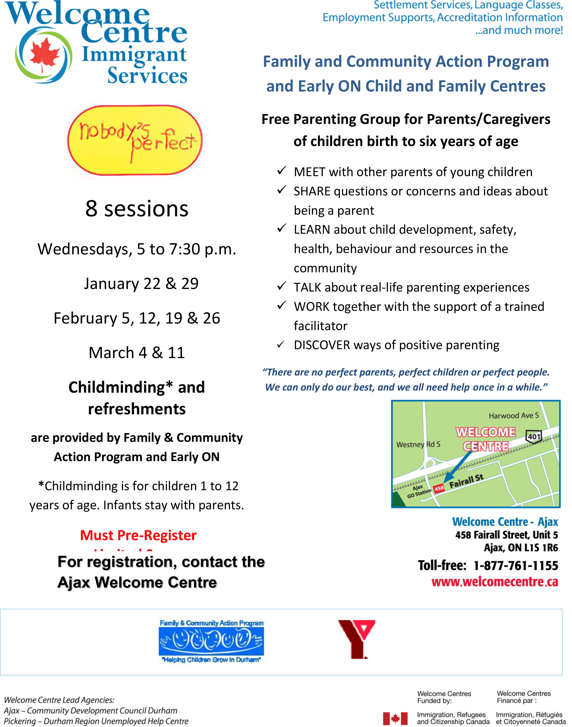Parenting event flyer for English as a Second Language newcomers to Canada