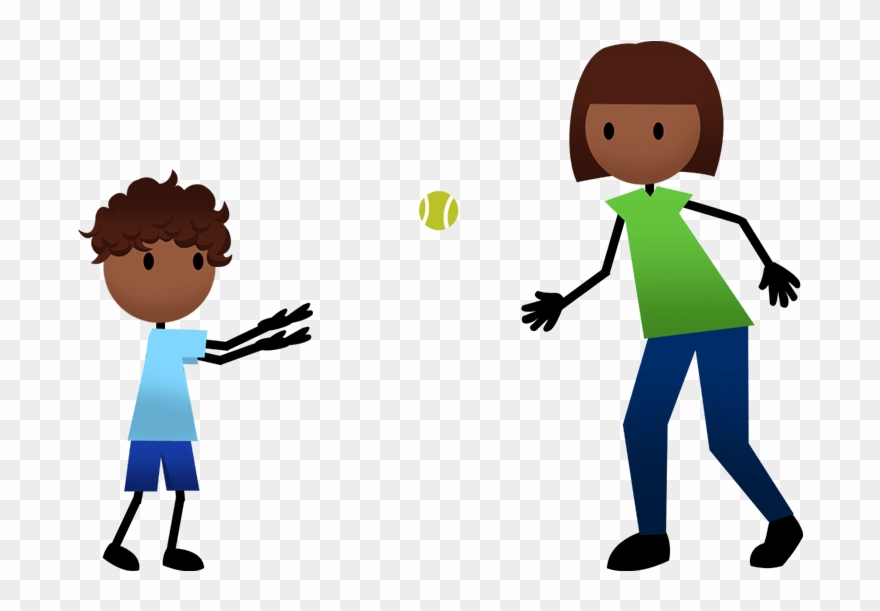 A young boy and older girl tossing a ball