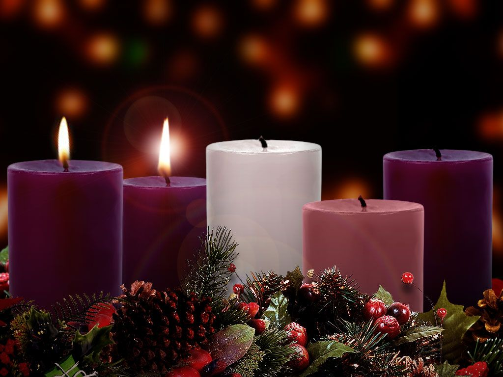 Two purple candles lit on the Advent wreath