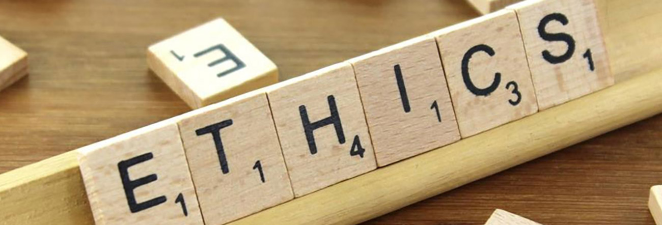 Ethics spelled out on scrabble tiles