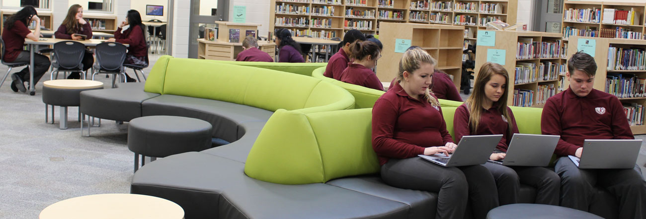 Students sitting in library