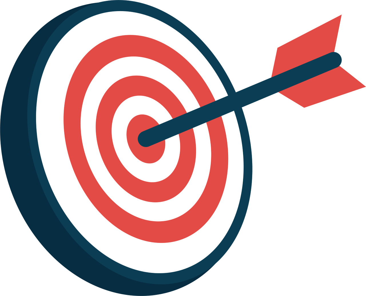 cartoon target with an arrow in the middle